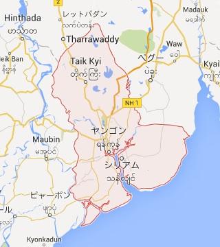 ピンク色の部分はヤンゴン管区