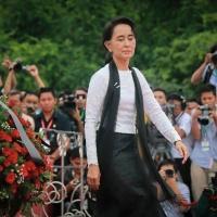 アウンサン将軍の長女民主化運動指導者スーチーさんも参列(Photo by Yangon Media group)