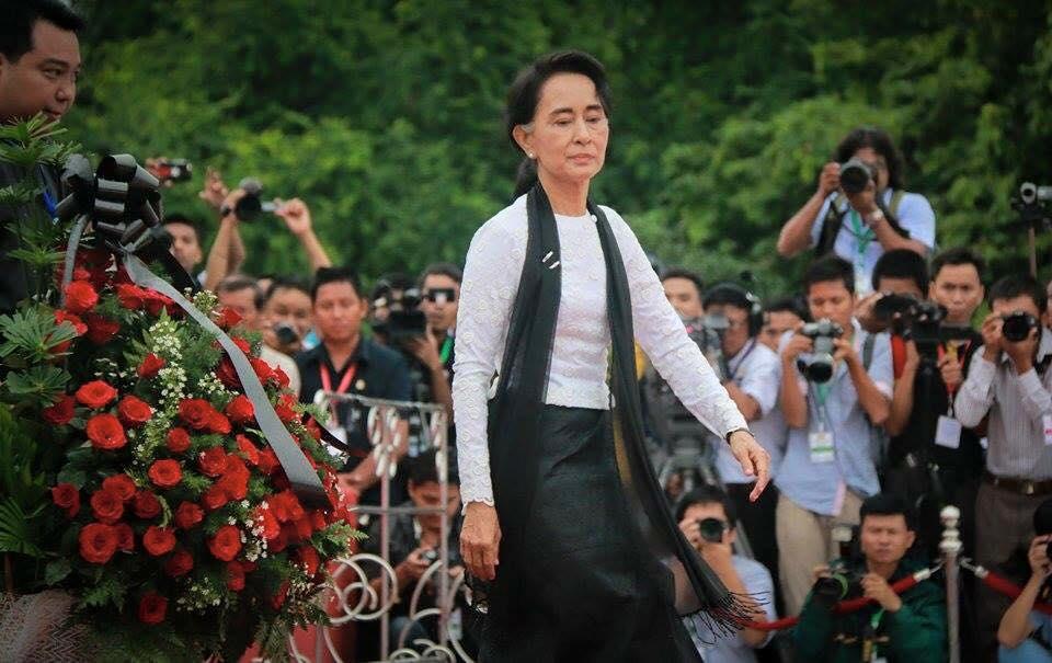 アウンサン将軍の長女民主化運動の指導者スーチーさんも参列(Photo by Yangon Media group)